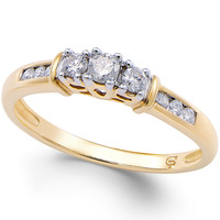 Diamond 3-Stone Promise Ring (1/4 ct. t.w.) in 10k Gold