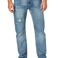 Distressed Whiskered Relaxed Straight Jean