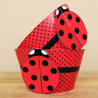 3D Ladybug Party Cupcake Wrappers in red and black polka dots - DIY printable party supplies – birthdays & showers - INSTANT DOWNLOAD
