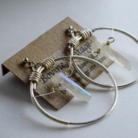 The Aurora Hoop- Adandalite aurora quartz point and sterling silver hand hammered hoops / stretched ear weights / rustic crystal earrings