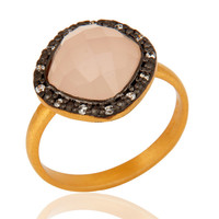 Handmade Rose Chalcedony And CZ 925 Sterling Silver With 24K Gold Vermeil Ring