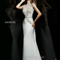Cap Sleeved Illusion Neckline Formal Prom Gown By Sherri Hill 4327