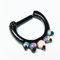 Septum Clicker Nose Jewelry, Fire Mix Opals in black titanium setting, 16ga, nose hoop, cartilage piercing jewelry