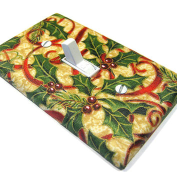 Holly Ribbons Christmas Decor Light Switch Cover Seasonal Decoration Holiday Home Decor