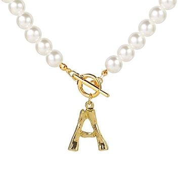 Simulated Pearl Necklace For Women 2021 Statement Jewelry Name Gold Bamboo English Alphabet Initial Letter Pendants Toggle Chian