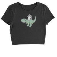 Unicorn Riding A Dinosaur Cropped T-Shirt