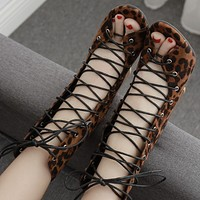Open-toe high-top strappy chunky high-heel sandals shoes