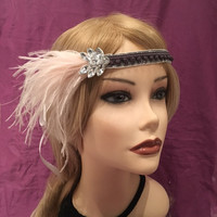 1920's Velvet Silver Glitzy Blue Gay Mauve Soft Pink Flapper Downton Abbey Ostrich Feather Headband Crystal Rhinestone Art Deco White (664)