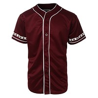Mens Varsity Short Sleeve Button Down Baseball Jersey with Design Print (CLEARANCE)