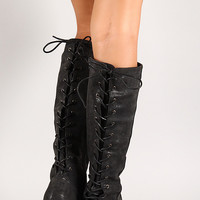 Nubuck Back Lace Up Knee High Riding Boot