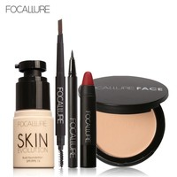 FOCALLURE Makup Tool Kit 8 PCS Must Have Cosmetics Including Eyeliner Powder Eyebrow pencil Foundation cream Lipstick pen