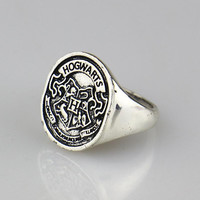 2016 New Harry Potter Hogwarts Bade Seal Death Hallows Ring,the Slytherin School Steampunk Women/Men Cocktail Ring Drop Shipping