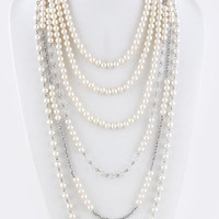 PEARL BALL LINK TIERED NECKLACE SET