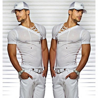 Men's Sexy V-neck Bandages Short Sleeve Pure Color Slim Fit Sheer Casual Cotton T-shirt WZK3008 [9325201732]