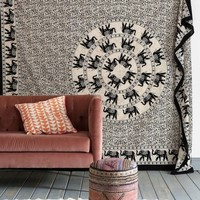 Black and White Mandala Elephant Ring Tapestry Wall Hanging - RoyalFurnish.com