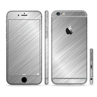 The Silver Brushed Aluminum Surface Six-Piece Sectioned Series Skin Set for the Apple iPhone 6 or 6 Plus