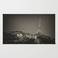 Vintage Hollywood sign Area & Throw Rug by Claude Gariepy
