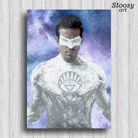white lantern kyle rayner print justice league art superhero decor dc comics