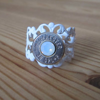 38 Special Bullet White Ring with Opal Swarovski Crystal Accents - Small Thin Cut - Classic - Girls with Guns