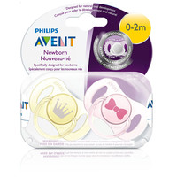 Philips AVENT BPA Free 0 - 2 Months Freeflow Newborn Pacifier 2 Pack - Girl
