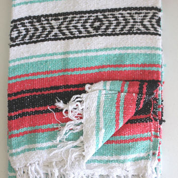 Mexican Blanket Mint Sea foam and Pink Beach Blanket Vintage Style