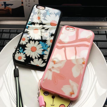 Daisy flower silicone soft mobile phone case for iPhone 7 7 plus iphone 5 5s SE 6 6s 6plus 6s plus + Nice gift box!