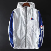 Champion Fashion New Bust Letter And Sleeve Letter And Back Logo Print Long Sleeve Top Windbreaker White