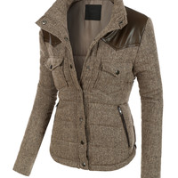 LE3NO Womens Padded Long Sleeve Bomber Jacket with Pockets (CLEARANCE)
