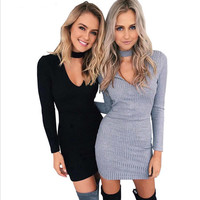 Autumn New Style Women sexy halter Long Sleeve knitted Cotton Bodycon dress 2016 Fashion Solid Color Fall Sheath Mini Dresses