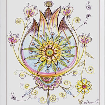 Colorful Wall decor, Lilac Flowers illustration Mandala Painting,  Abstract Original Drawing, Colored pencils Art, Home and Wall Art decor