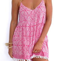 Pom Pom Jumpsuit / Playsuit, Short Beach Dress, Pink & White Print Skort Shorts