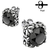 Black Glamor - Carved gothic floral design with black cubic zirconia solitaires set in surgical stainless steel stud earrings