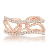 Marina Rose Gold Abstract Cuff Ring | 0.8ct | Cubic Zirconia | Rose Gold