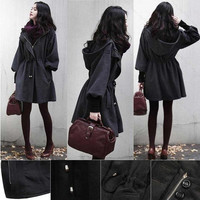 Womens Winter Warm WOOLEN Trench Coat Parka puff sleeve Jacket Fashion Outerwear = 1905874756