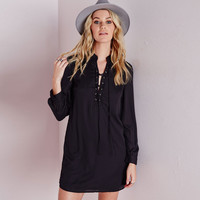 V-Neck Cross Lace Long Sleeve A-Line Mini Dress