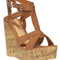 Faux Leather Strap Cork Wedges | Wet Seal