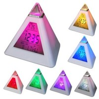 7 Color Change LED Pyramid Alarm Clock With Thermometer and Date