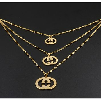 GUCCI Classic Popular Women Earrings Necklace Two Piece