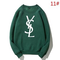 YSL Autumn And Winter Fashion New Letter Print Women Men Keep Warm Long Sleeve Sweater Top Green