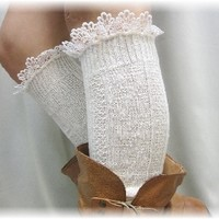 Ivory Thick Lace Edged Boot Socks