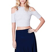 Ribbed Cut Out Shoulder Short Sleeve Mock Neck Crop Top (CLEARANCE)