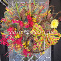 XL Easter Wreath, Easter Decoration, Whimsical Wreaths, Front door Wreath, Door Hanger, Bunny Wreath, Spring wreaths, Ready to Ship