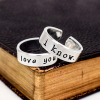I Love You I Know Ring Set - Star Wars - Adjustable Aluminum Couples Rings