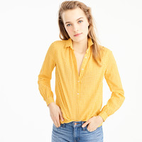 Petite gathered popover shirt in microgingham