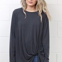 Long Sleeve Get Twisted Modal Top {Grey}
