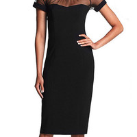 Black Backless Short Sleeve Bodycon Midi Dress with Mesh Accent