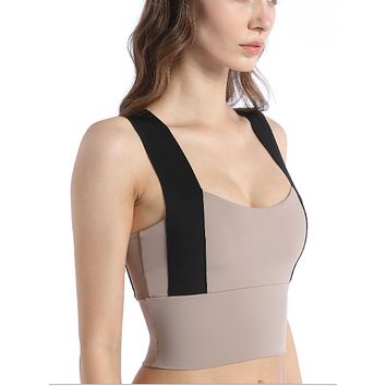 Naked sense large Yoga bra anti accessory breast medium support color contrast wide strap vest underwear