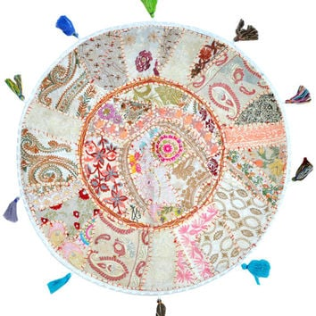 """White 22"""" Patchwork Round Floor Pillow Cushion round embroidered Bohemian Patchwork floor cushion pouf Vintage Indian Foot Stool Bean Bag"""