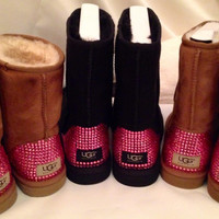 PRICE REDUCED!!! Custom Swarovski Encrusted Classic Short Ugg Boots - Only Authentic Uggs and Swarovski Crystals are Used