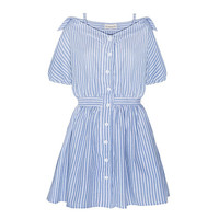 Blue and White Buttoned Striped Shirt Dress